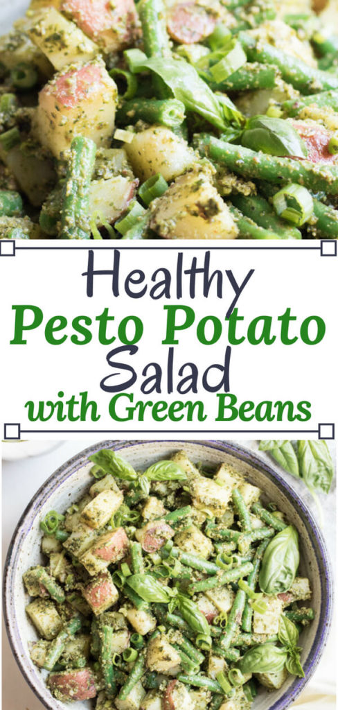 A bright and healthy side dish bursting with summer flavor. Almond pesto potato salad with green beans is easy to make and loaded with good for you ingredients, the perfect alternative to a mayonnaise-based potato salad.