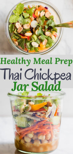 Healthy Thai Chickpea Jar Salad is the perfect meal prep lunch, this recipe makes 4 days worth of plant based delicious protein! Creamy spicy peanut butter dressing with chickpeas, crunchy vegetables, cilantro and salted peanuts.