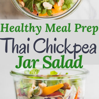 Healthy Thai Chickpea Jar Salad is the perfect meal prep lunch, this recipe makes 4 days worth of plant baseddelicious protein! Creamy spicy peanut butter dressing with chickpeas, crunchy vegetables, cilantro and salted peanuts.
