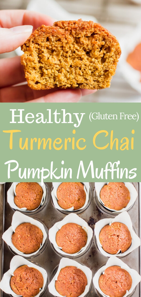 A super easy and healthy pumpkin muffin recipe loaded with good for you spices, like turmeric, clove, and ginger and sweetened with maple syrup. The perfect healthy fall treat! #pumpkinmuffin #glutenfree #healthyrecipe #pumpkinrecipe #fallbaking