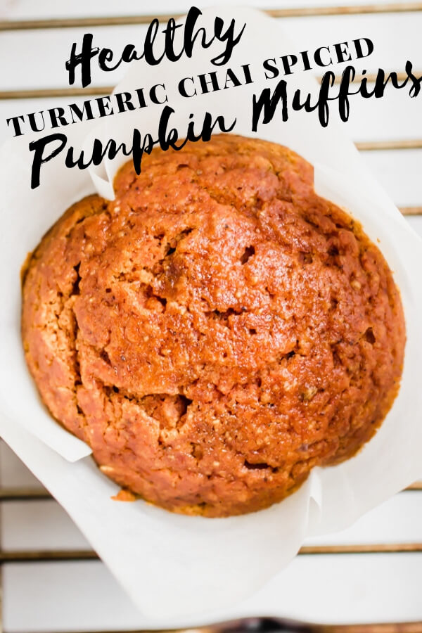 A super easy and healthy pumpkin muffin recipe loaded with good for you spices, like turmeric, clove, and ginger and sweetened with maple syrup. The perfect healthy fall treat!