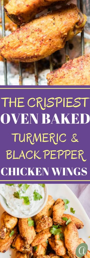 Healthy Oven Crisp Turmeric Black Pepper Wings with a tangy yogurt dipping sauce.