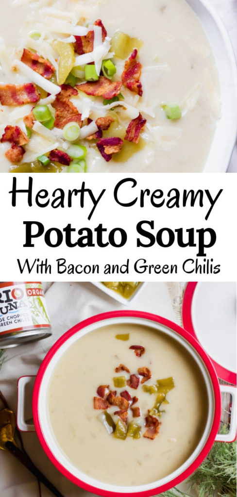 Hearty creamy potato soup with bacon and green chilis. The perfect bowl of soup to serve for a holiday open house. Comforting, and supremely delicious with a hint of earthy spice from the green chilis. This potato soup will quickly become a family favorite for holidays, parties, and just cozy Friday nights next to a fire.