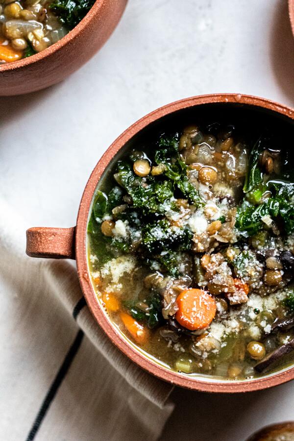 close up of lentil soup with vegetables