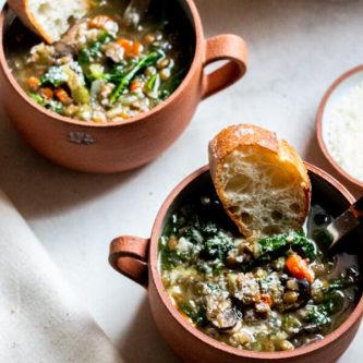 2 bowls of healthy lentil soup