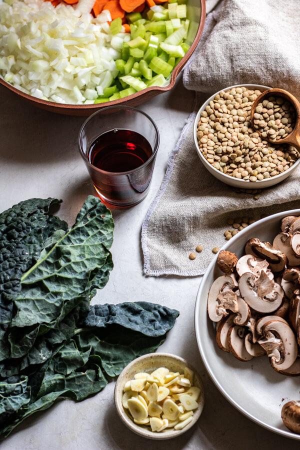 Ingredients for hearty vegetable lentil soup