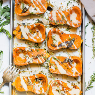 Herb Roasted Honeynut Squash with Miso Tahini Sauce
