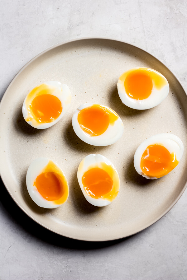 Jammy Eggs on a plate