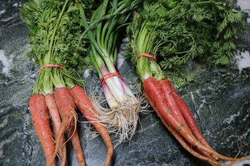 Harissa roasted carrots and scallions is the perfect nod to gorgeous spring veggies. Plus I share a 4 course spring tasting menu, it's a good one!