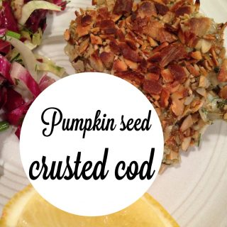pumpkin seed crusted cod