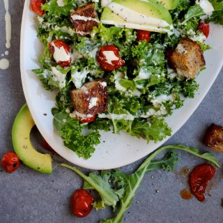 Vegan Kale Caesar Salad with Roasted Tomatoes and Avocado