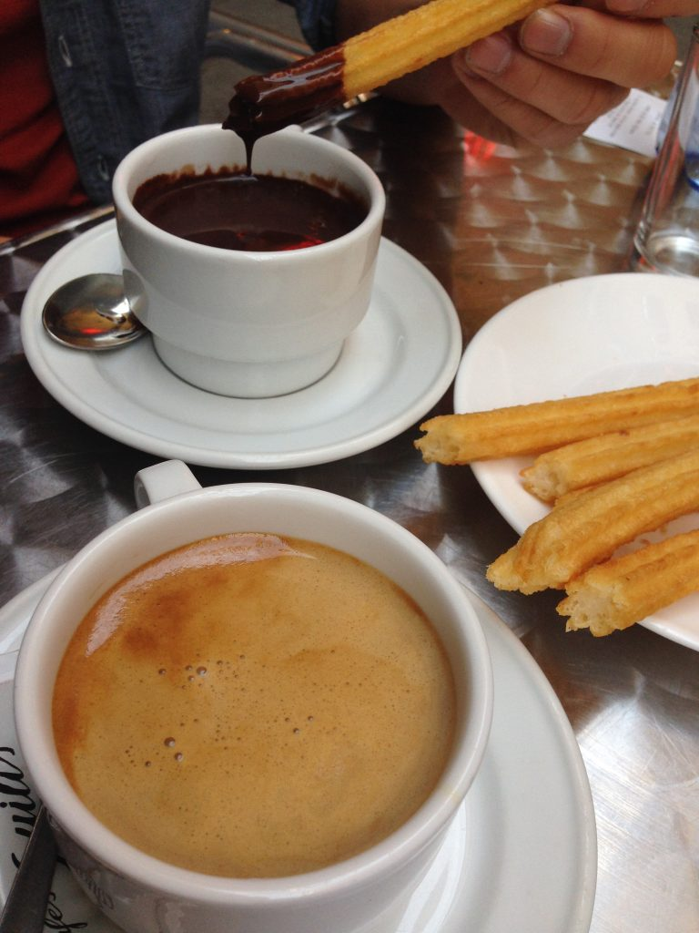 churro and chocolate and coffee