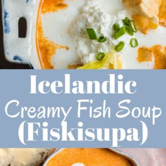 A rich creamy soup with tender pieces of perfectly cooked fish, leeks, and potatoes. So delicious! A warm comforting meal inspired by my travels to Iceland.