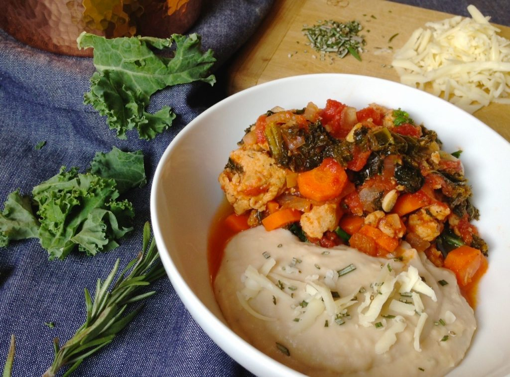 Kale Sausage Stew with Cheddar Rosemary White Bean Mash