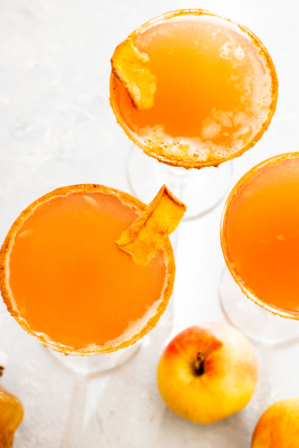 Immune Boosting Apple Cider Elderberry Sparkler in martini glass with garnish