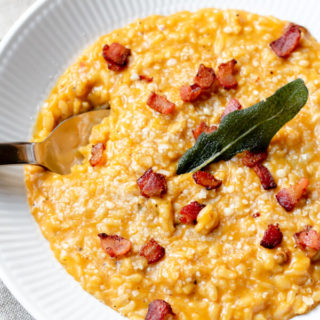 Instant Pot Pumpkin Risotto with Crispy Bacon