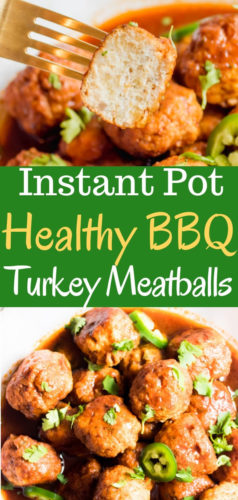 Sweet, sticky, and slightly spicy, these instant pot barbeque turkey meatballs will blow your mind with deliciousness and require only 6 simple ingredients: ground turkey, bbq sauce, jalapeno, onion, breadcrumbs, and spices.