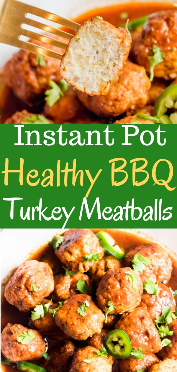 Sweet, sticky, and slightly spicy, these instant pot barbeque turkey meatballs will blow your mind with deliciousness and require only 6 simple ingredients: ground turkey, bbq sauce, jalapeno, onion, breadcrumbs, and spices. Serve as an appetizer, healthy protein, or quick meal. #instantpot #turkeymeatballs #healthyrecipe