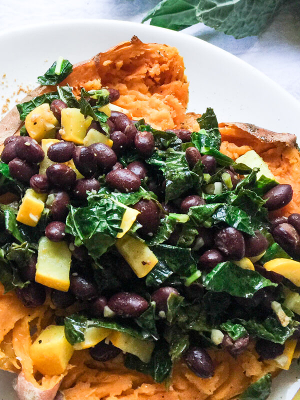 Kale and Black Bean Stuffed Sweet Potato, nourishing, healthy, quick and easy.
