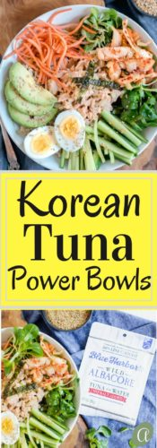 Super simple, healthy and delicious Korean Tuna Power Bowls. Brown rice, a rainbow of veggies, and Korean tuna salad, drizzled with a yummy sesame dressing. The perfect healthy lunch ready in 5 minutes!