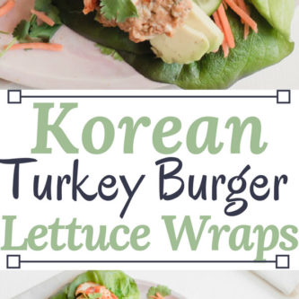Seriously the most flavorful moist turkey burger you have ever had! Piled high in crisp lettuce leaves with carrots, kimchi, avocado, and a special Korean inspired sauce. Perfect for a crowd!