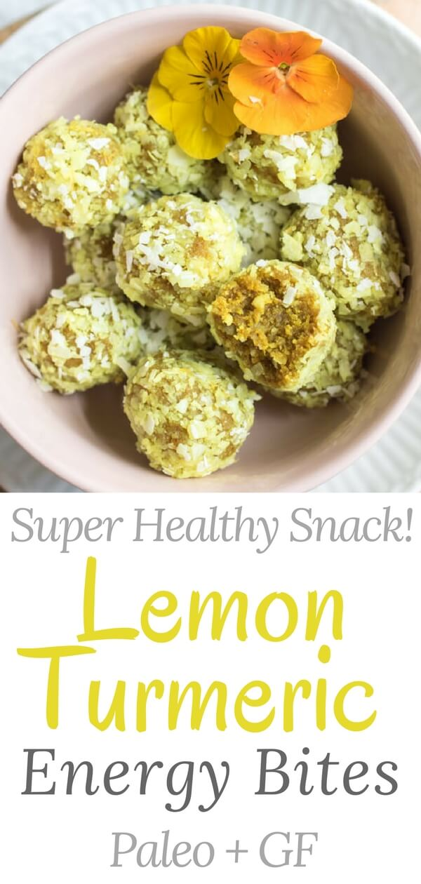 Lemon turmeric energy bites are a seriously delicious healthy snack. One bite of citrus perfection, combining the perfect balance of protein and fat to help you feel full and satisfied. Filled with super healthy ingredients like turmeric, nuts and coconut that boost anti-inflammatory properties and encourage overall health and vitality. These no-bake energy bites are gluten-free, paleo, vegan, and 100% sugar-free. They taste like lemon cake bites!