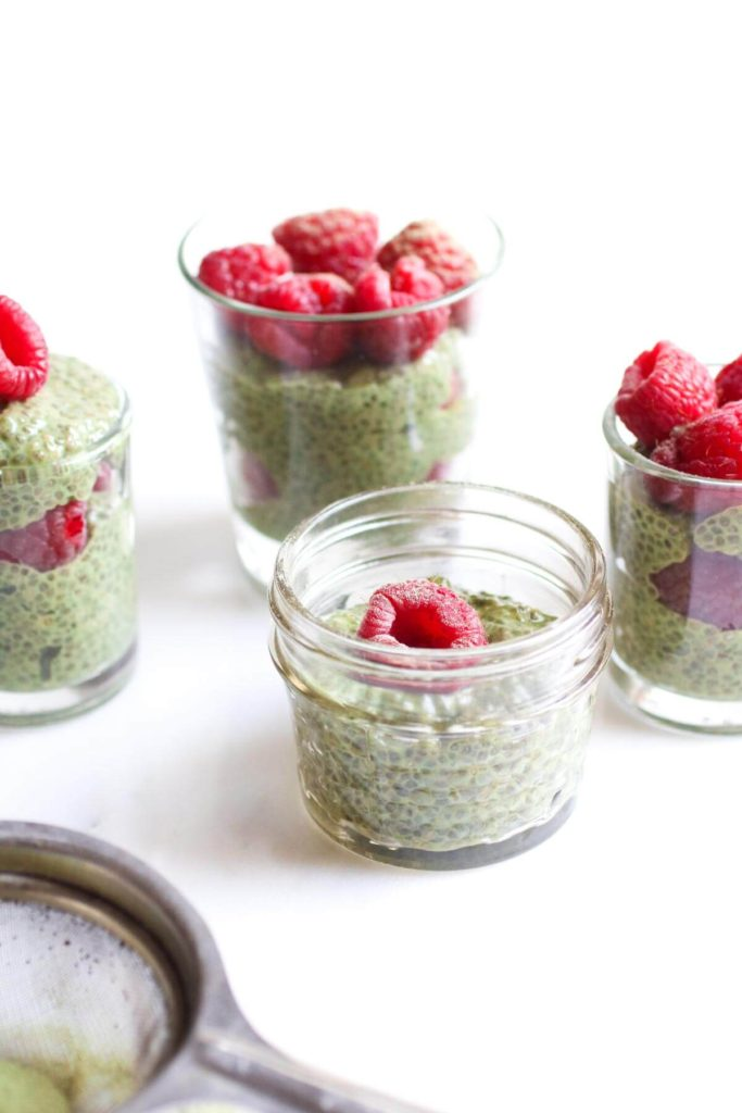 Matcha Chia Seed Pudding, a creamy earthy superfood treat with almond milk, maple syrup, antioxidant rich matcha powder and protein packed chia seeds. The best snack ever! Gluten free, Vegan, Paleo, Whole 30.