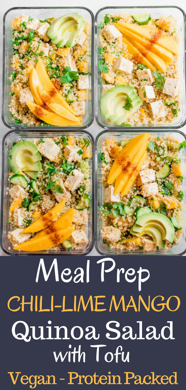 Sweet and spicy, tangy and luscious. This healthy vegan meal prep bowl is everything! Sweet mango with tangy lime and spicy chili powder, crunchy cucumbers, creamy avocado, tangy protein-rich tofu, and hearty quinoa. I'm happy to have this lunch on repeat all week long. #Vegan #lunch #Tofu #mango #mealprep #quinoa #quick #easy