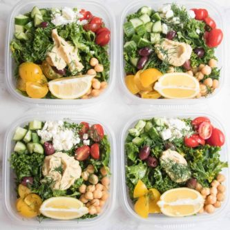Greek kale and quinoa salad meal prep bowls are addictively delicious.