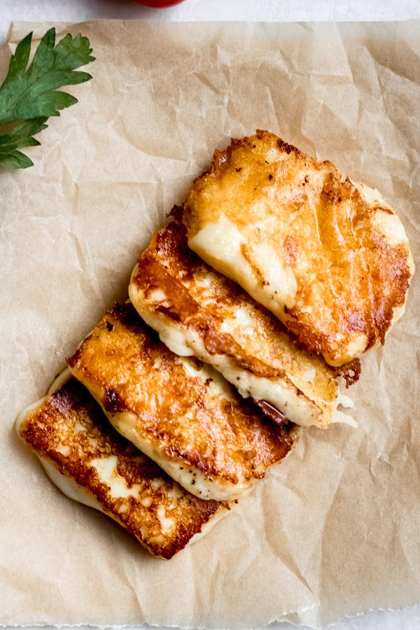 Mediterranean Chickpea Salad - Grilled Halloumi Cheese!
