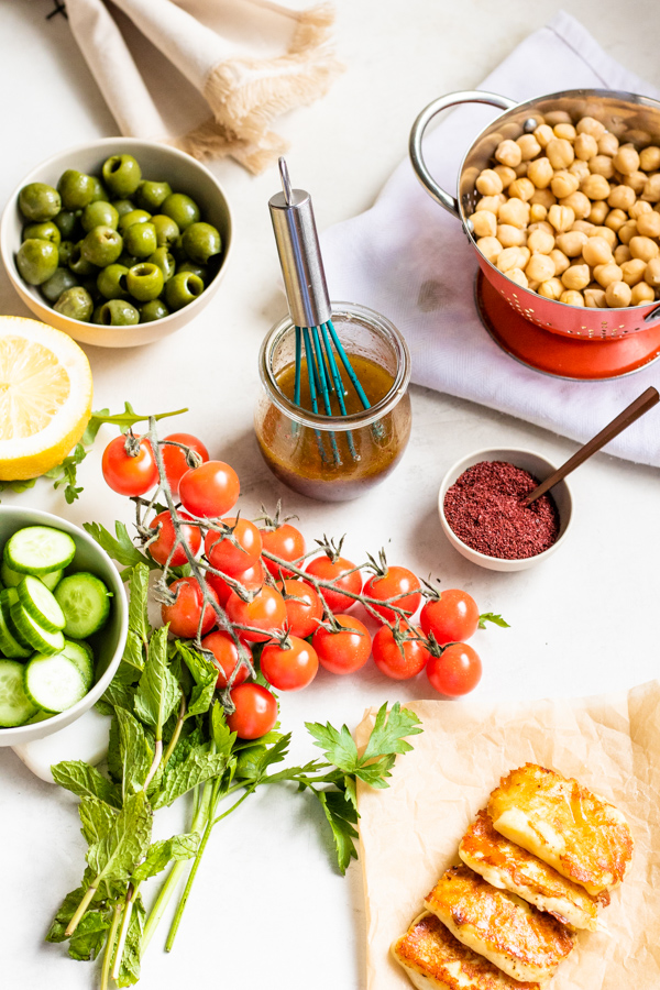 Ingredients for Healthy Mediterranean Chickpea Salad