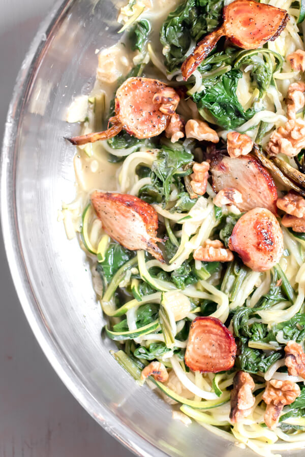A light, healthy, and delicious meal. Lemon miso zucchini noodles with roasted beets, beet greens, and toasted walnuts. Gluten-free, vegan, all the things but most importantly quick, healthy and yummy!