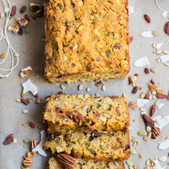 Morning Glory Quick Bread - A paleo breakfast bread loaded with fruits and vegetables, nuts and seeds. So yummy and so good for you! | abraskitchen.com