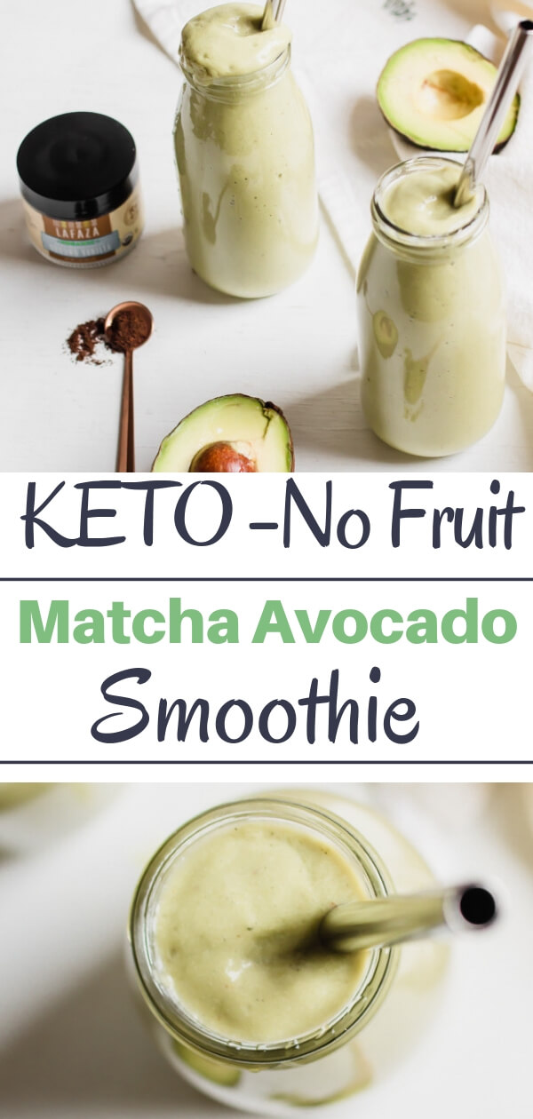 A creamy delicious no fruit smoothie. High in protein and good for you fats, low in carbohydrates and sugar. This no-fruit matcha avocado smoothie is my new breakfast BFF!