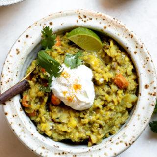 Ayurvedic Kitchari in bowl with spoon