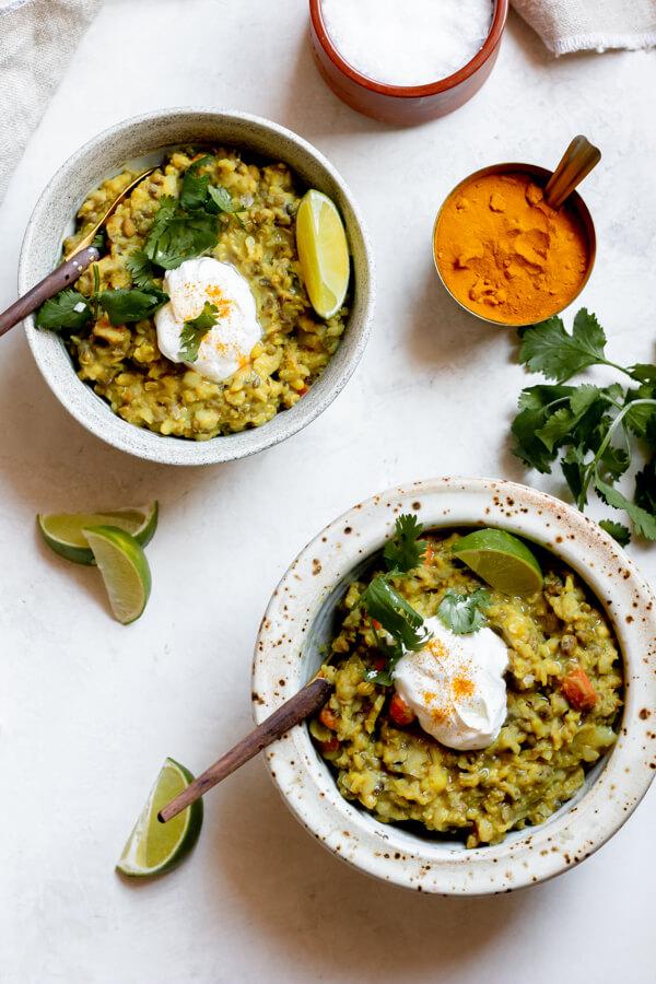 2 bowls of ayurvedic kitchari