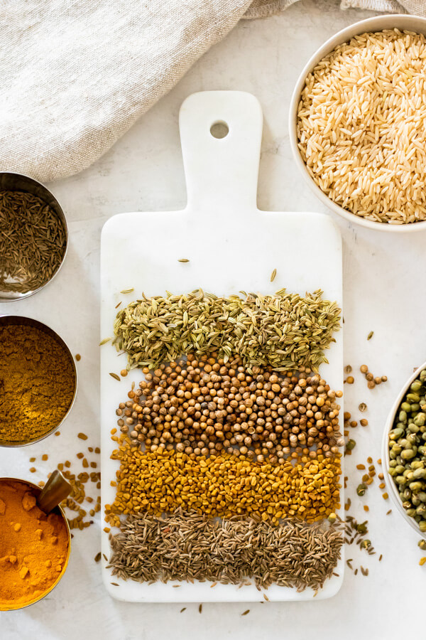 spices and grains for ayurvedic kitchari