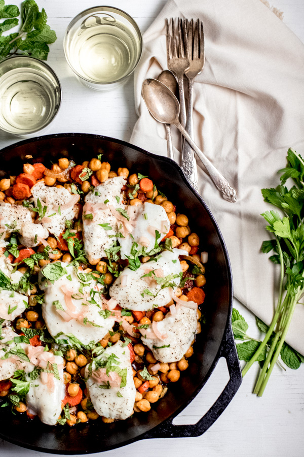 One Pan Halibut with Spiced Chickpeas and Carrots