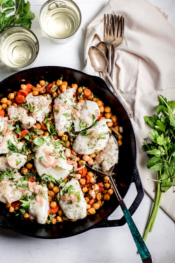 baked halibut with chickpeas and carrots