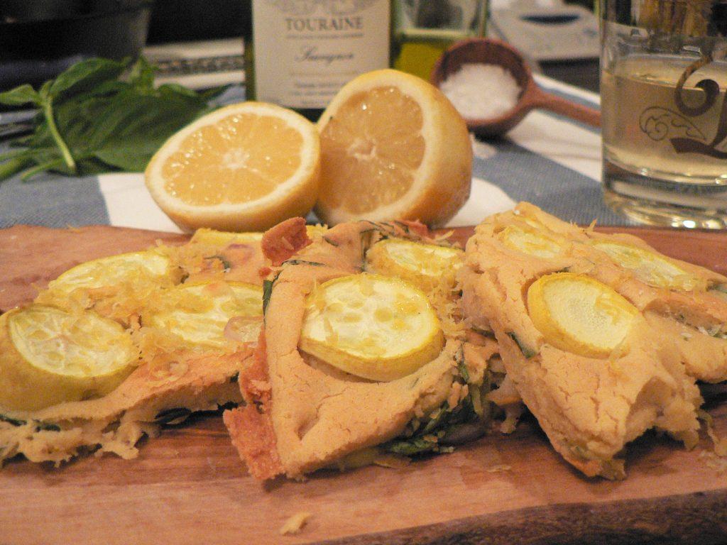 basil lemon socca