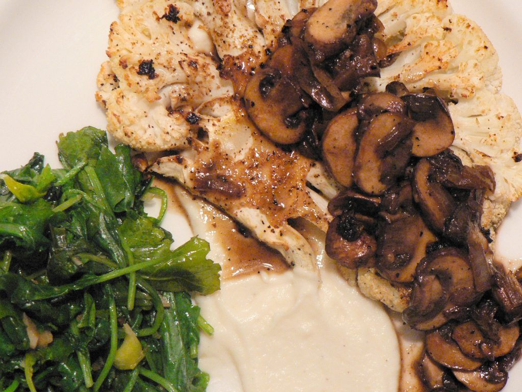 cauliflower steak with mushroom marsala sauce
