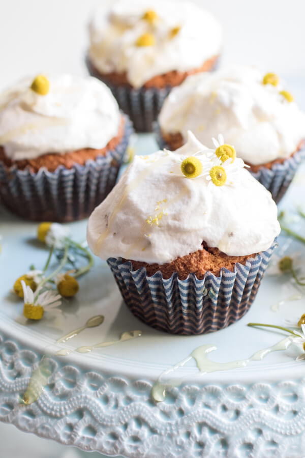 Peaceful calming chamomile cupcakes made with coconut flour. A special yummy moist and delicious cupcake that is gluten-free, nut-free, grain-free, refined sugar-free, and easy to prepare.
