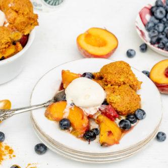 Peach Berry Cobbler with Golden Milk Biscuits