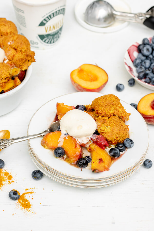 Peach Berry Cobbler with Golden Milk Biscuits