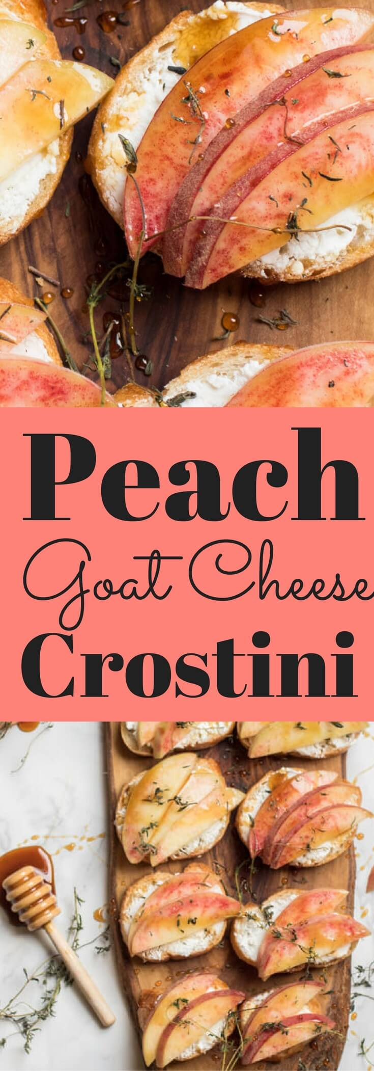 Peach goat cheese crostini is the perfect little bite on a hot summer's day. Creamy goat cheese topped with fresh juicy peaches, earthy thyme, and a drizzle of honey. Appetizer, peach, vegetarian, healthy | abraskitchen.com