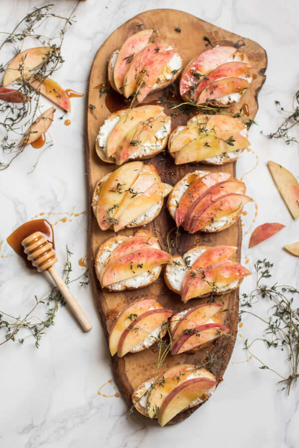 Peach and Goat Cheese Crostini with Fresh Thyme and Honey