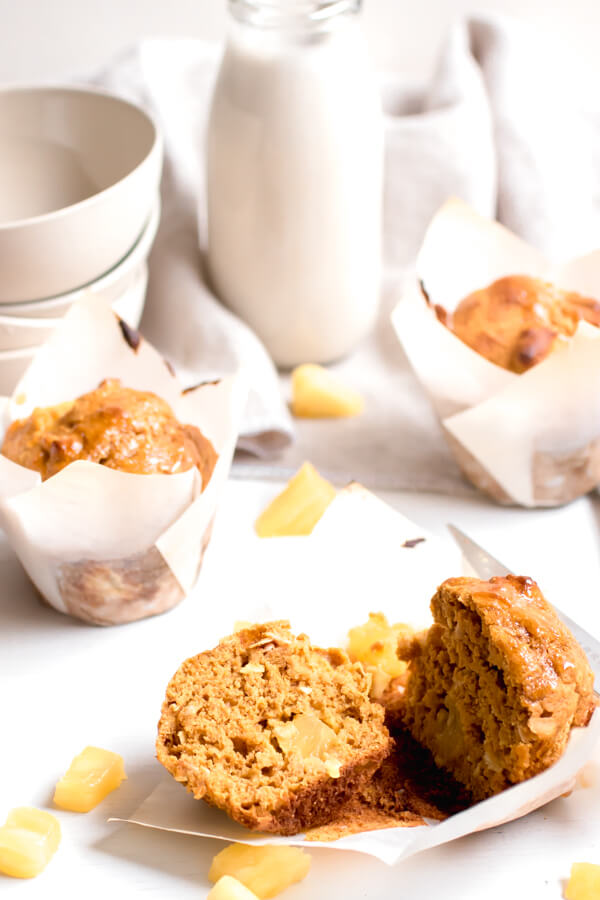 Incredibly delicious fluffy sweet potato pineapple muffins with coconut. Made without butter, oil, or refined sugar. Get ready to fall in love with your new favorite muffin!