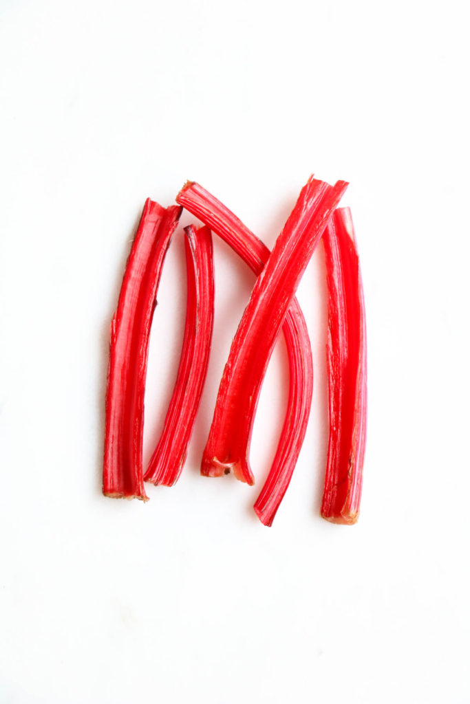 Quick and easy pickled swiss chard stems. With pink peppercorns and coriander seeds you will eat these by the spoonful! Refrigerator pickle, swiss chard, pickled stems. |abraskitchen.com