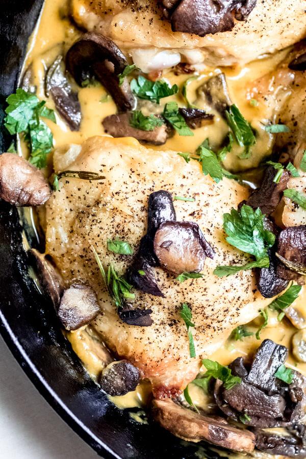 Crispy Seasoned Chicken Thighs with Pumpkin Parmesan Sauce and Mushrooms