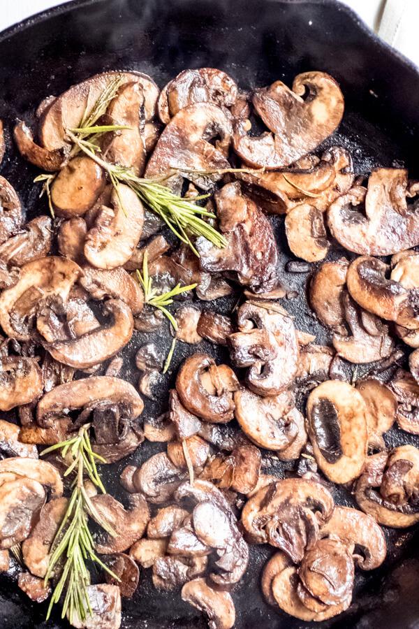 Sauteed rosemary mushrooms for pumpkin parmesan chicken